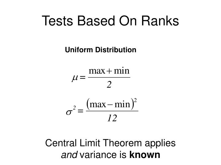 Tests Based On Ranks