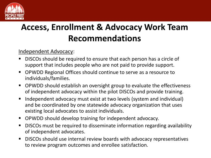 Access, Enrollment & Advocacy Work Team