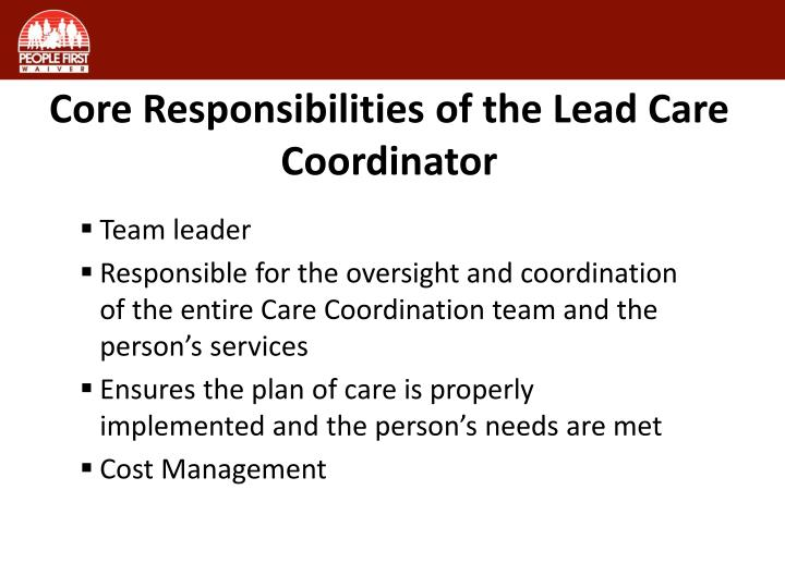 Core Responsibilities of the Lead Care Coordinator