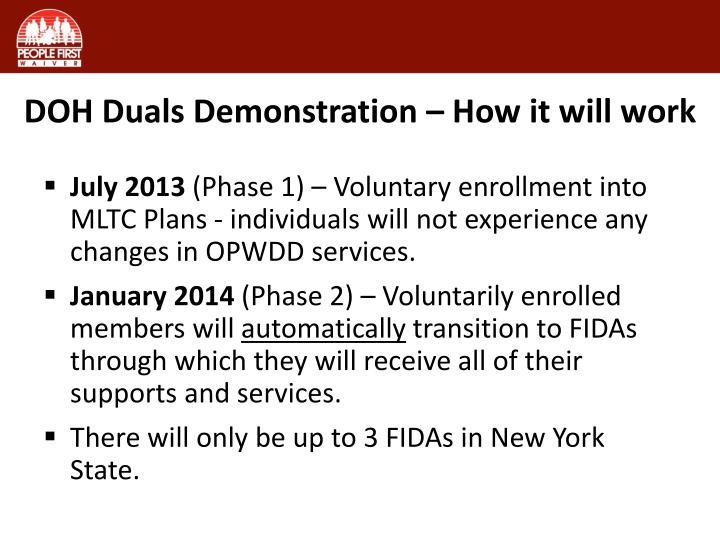 DOH Duals Demonstration – How it will work