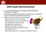 doh duals demonstration