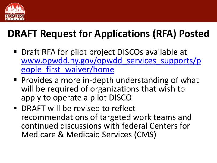 DRAFT Request for Applications (RFA) Posted