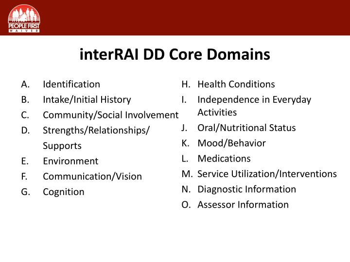 interRAI DD Core Domains