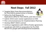 next steps fall 2012
