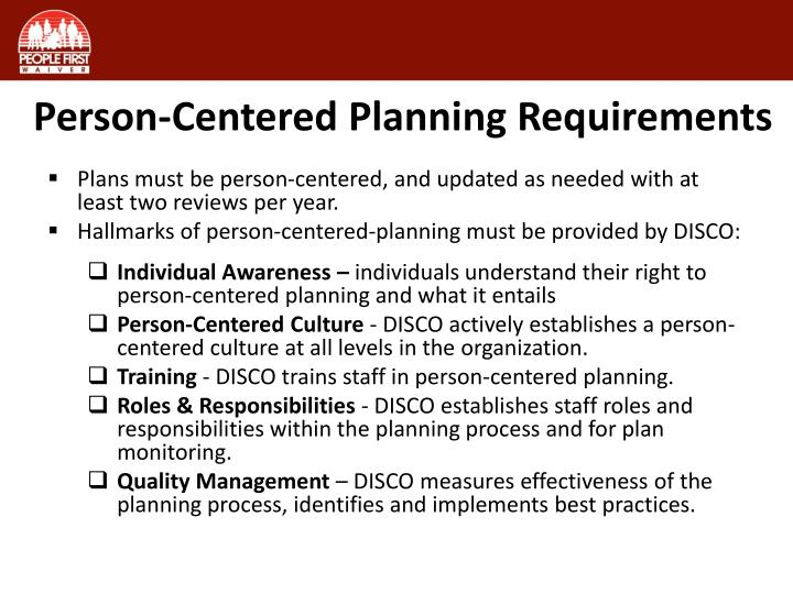 Person-Centered Planning Requirements