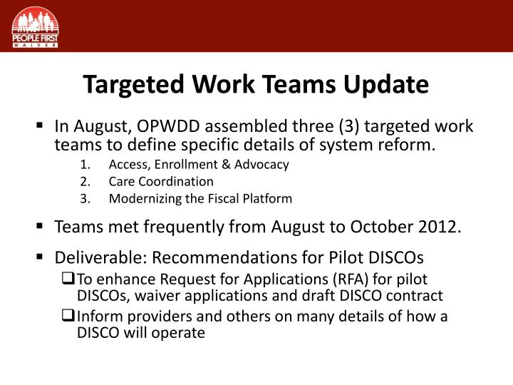 Targeted Work Teams Update