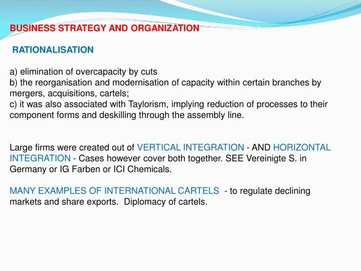 BUSINESS STRATEGY AND ORGANIZATION