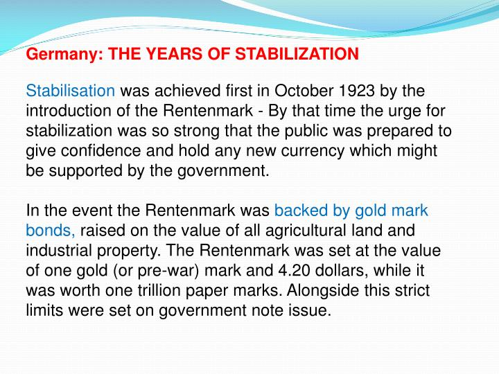 Germany: THE YEARS OF STABILIZATION