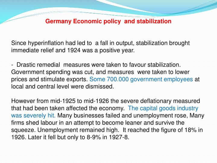 Germany Economic policy  and stabilization