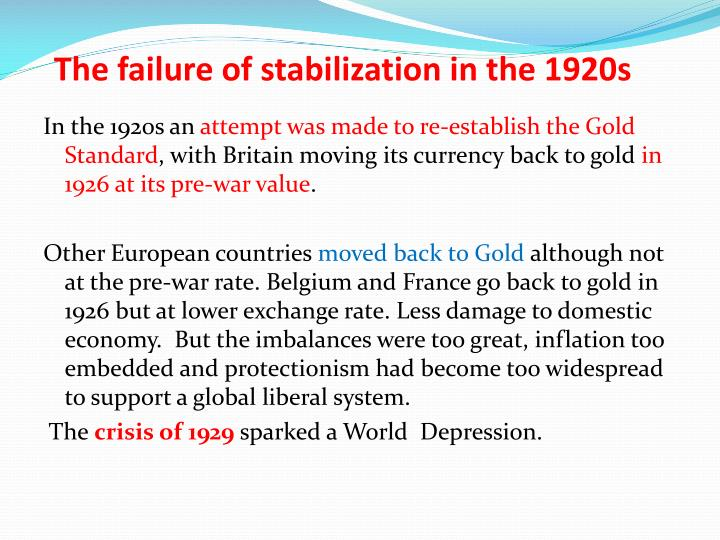 The failure of stabilization in the 1920s