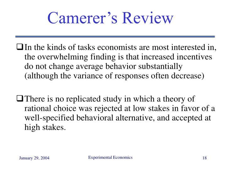 Camerer's Review