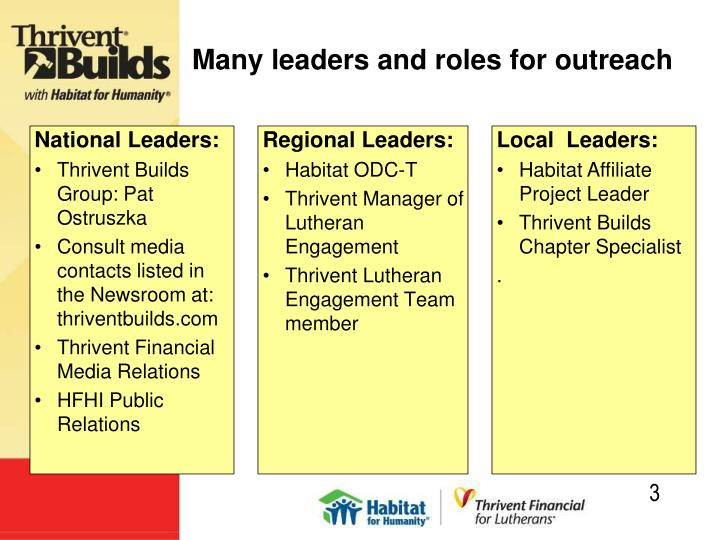 Many leaders and roles for outreach