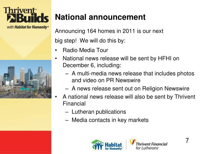 National announcement