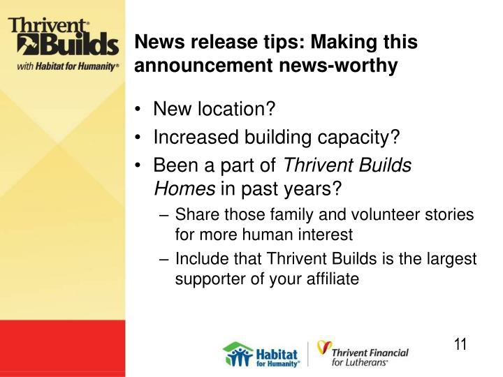 News release tips: Making this announcement news-worthy