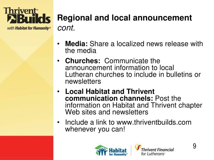 Regional and local announcement