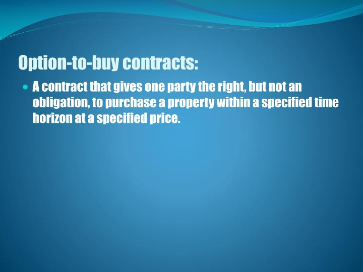 Option-to-buy contracts: