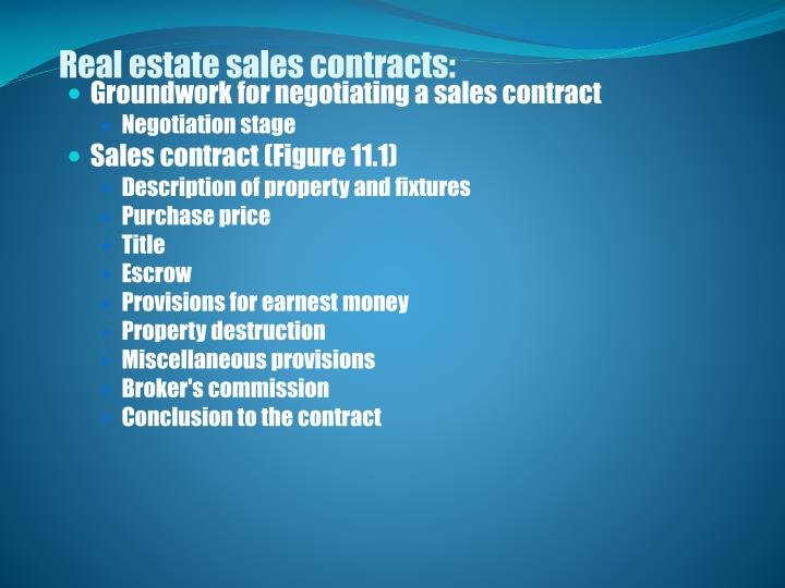 Real estate sales contracts: