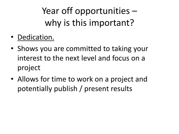 Year off opportunities –