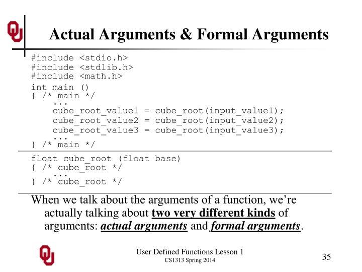 Actual Arguments & Formal Arguments