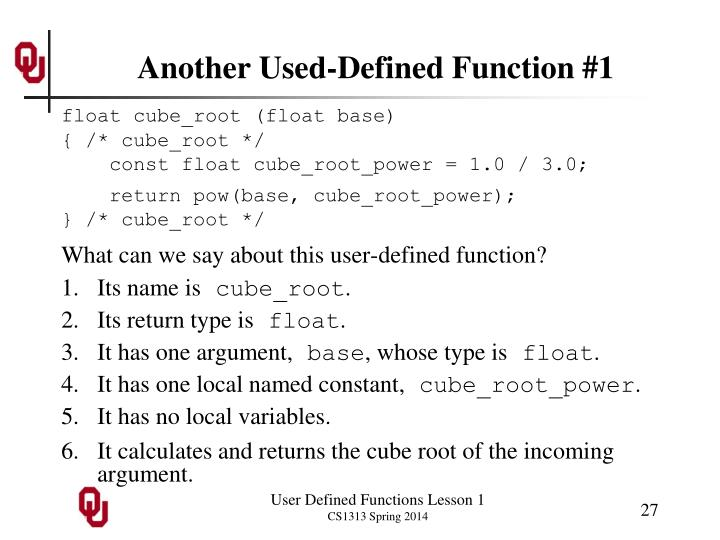 Another Used-Defined Function #1