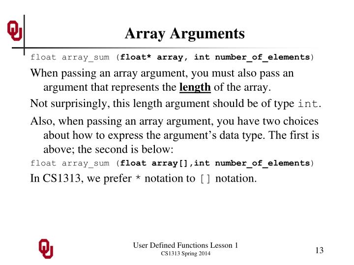 Array Arguments