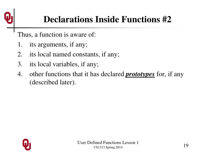 Declarations Inside Functions #2