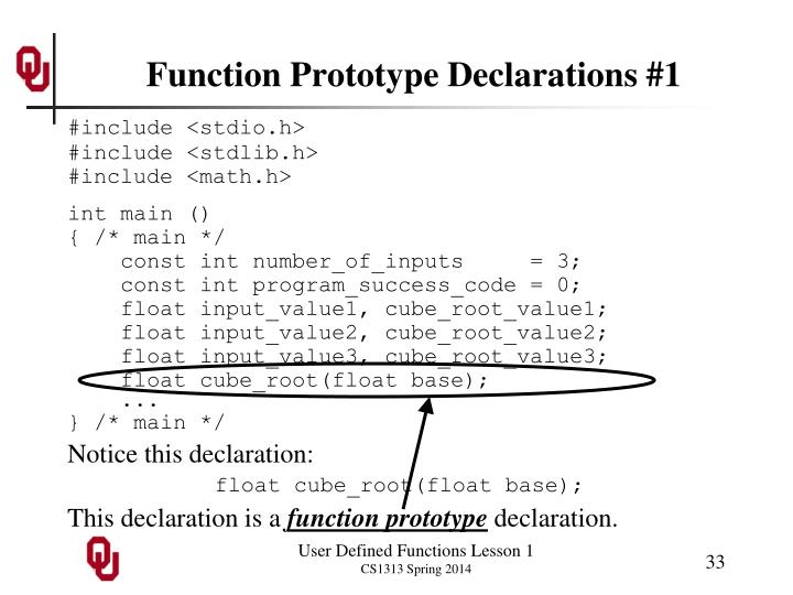 Function Prototype Declarations #1