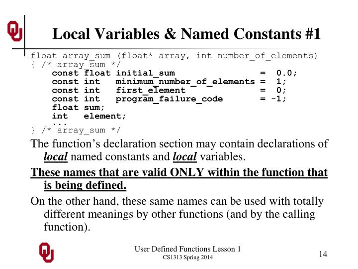 Local Variables & Named Constants #1