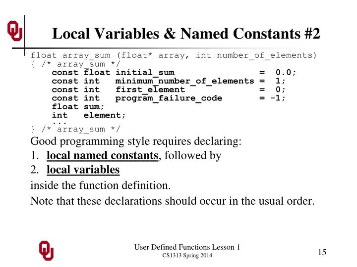 Local Variables & Named Constants #2