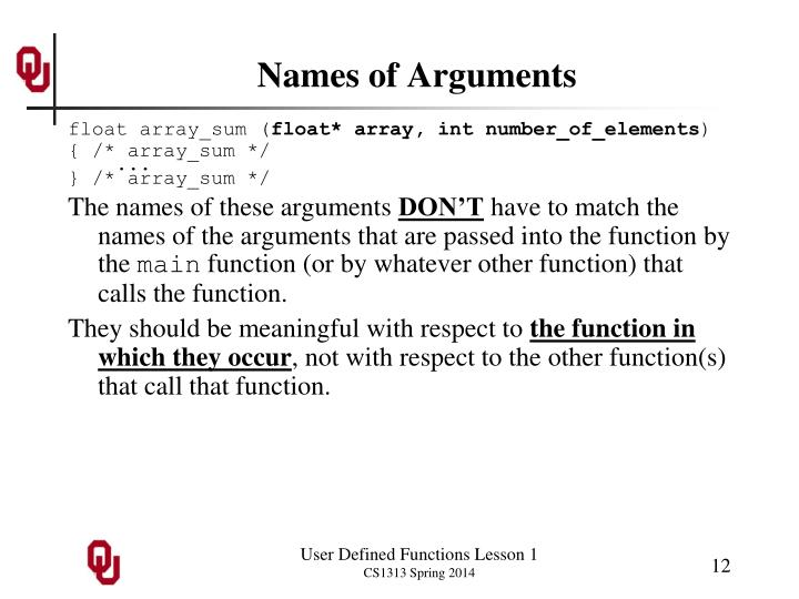 Names of Arguments