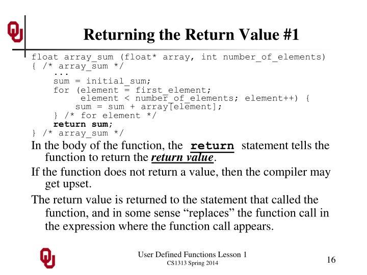 Returning the Return Value #1