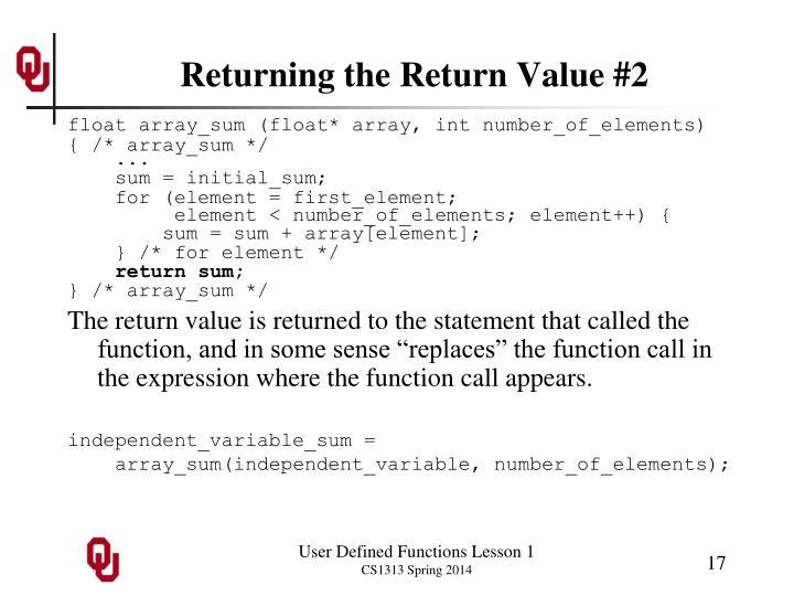 Returning the Return Value #2