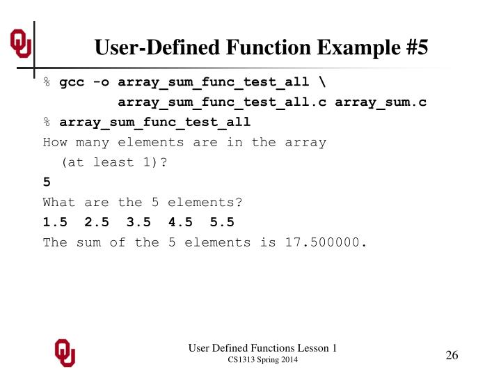 User-Defined Function Example #5