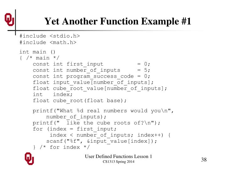 Yet Another Function Example #1