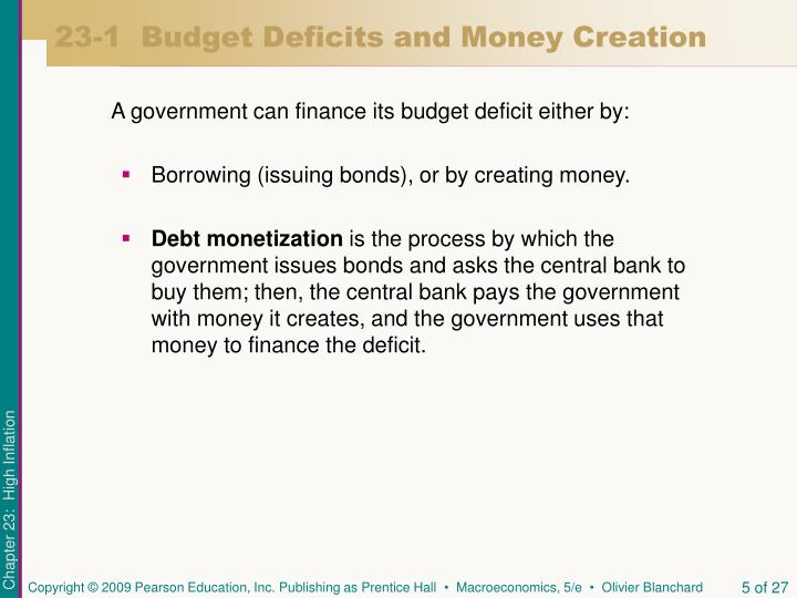 23-1  Budget Deficits and Money Creation