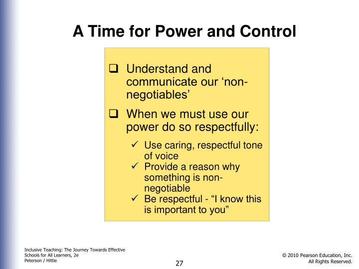 A Time for Power and Control
