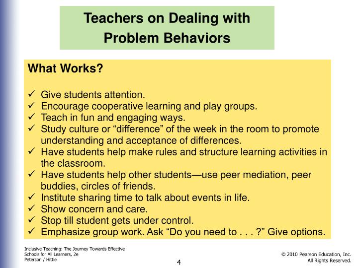 Teachers on Dealing with Problem Behaviors