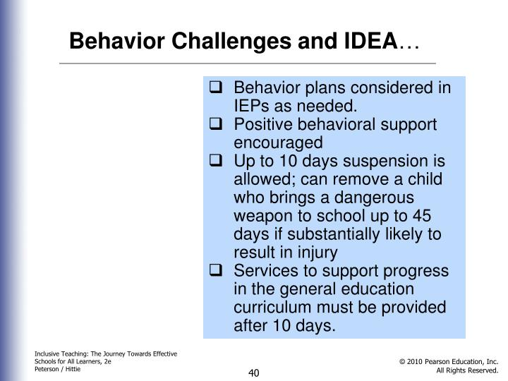 Behavior Challenges and IDEA