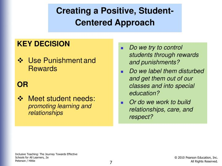 Creating a Positive, Student-Centered Approach