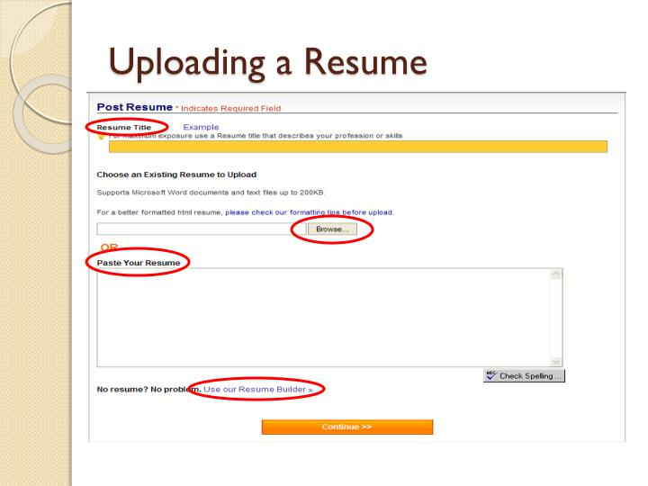 Uploading a Resume