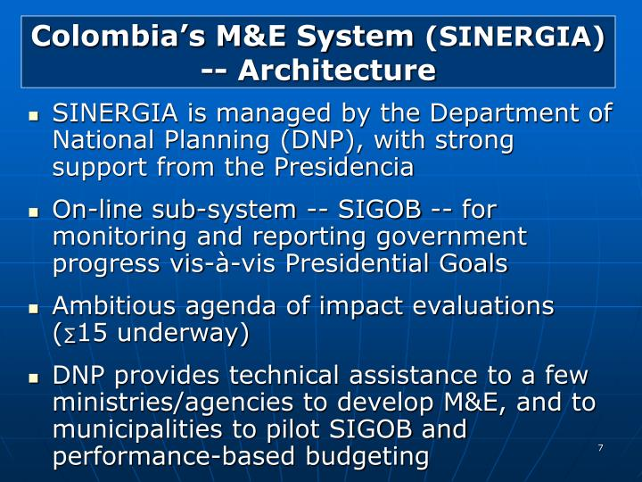 Colombia's M&E System