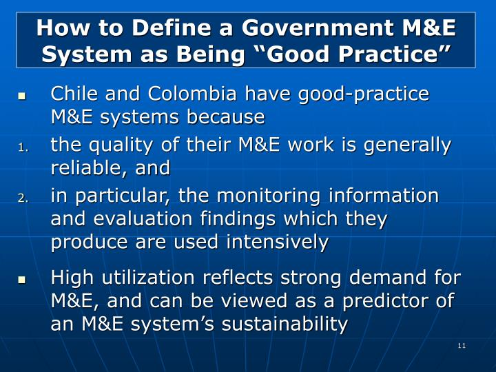 "How to Define a Government M&E System as Being ""Good Practice"""