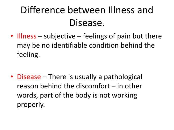 Difference between Illness and Disease.