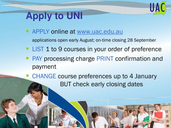 Apply to UNI