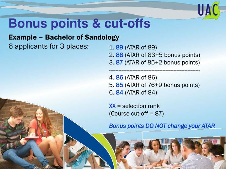 Bonus points & cut-offs