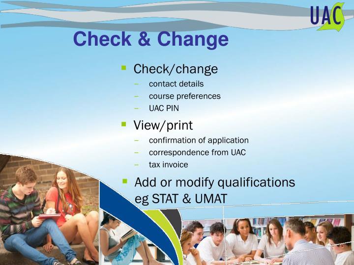 Check/change