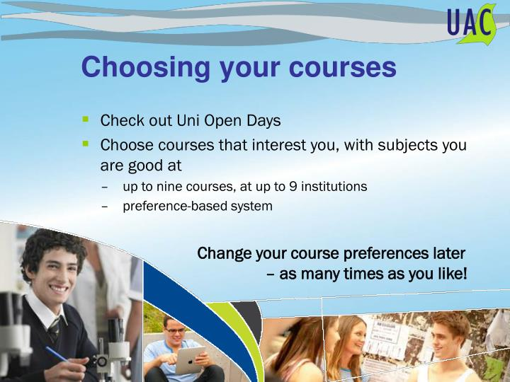 Choosing your courses