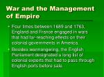 war and the management of empire