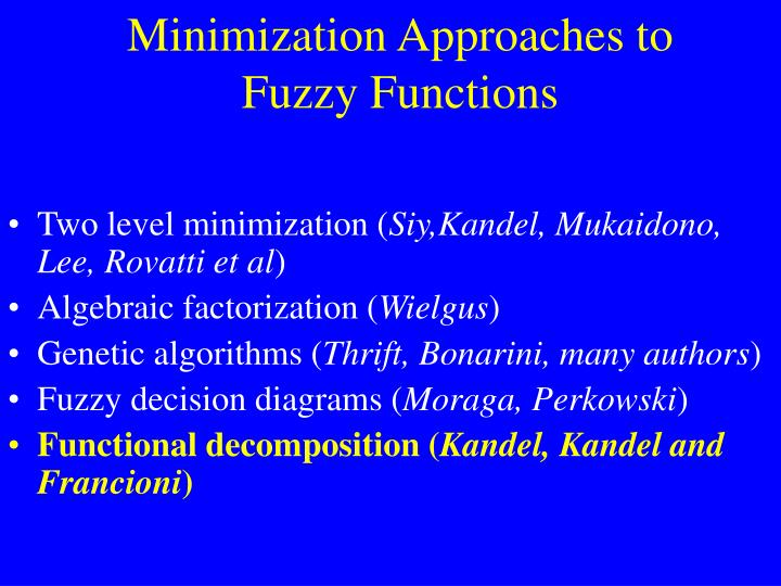 Minimization approaches to fuzzy functions