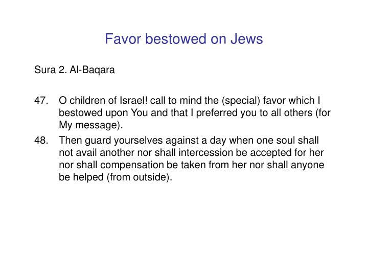 Favor bestowed on Jews